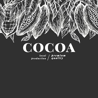 Cacau de mão desenhada. ilustrações de plantas de cacau no quadro de giz. chocolate natural vintage