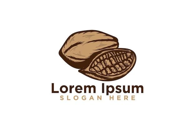 Cacau desenhado à mão, design de logotipo vintage de chocolate, ilustração vetorial
