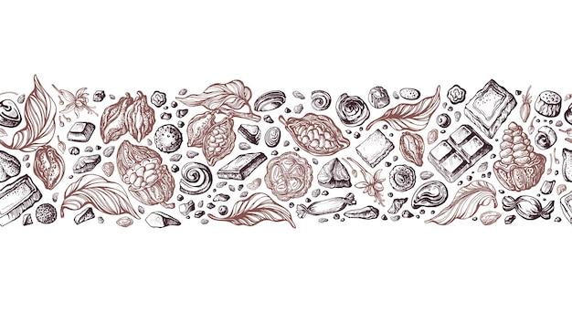 Cacau sem costura fronteira art sketch pattern mão desenhada frutas feijão doce aroma chocolate
