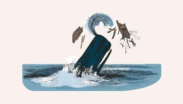 Cachalote enquanto atacando o barco de pesca