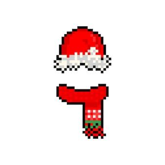 Cachecol de chapéu de natal vermelho de desenho animado pixel art