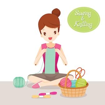 Cachecol feminino de tricô, ferramentas de costura e acessórios