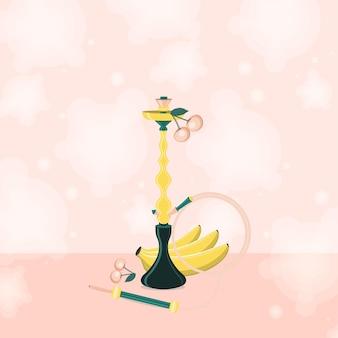 Cachimbo de água com banana e cereja com fumaça. ilustração em vetor plana.