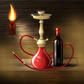 Cachimbo de água realista com uma garrafa de vinho em um fundo de madeira com uma tocha e fumaça