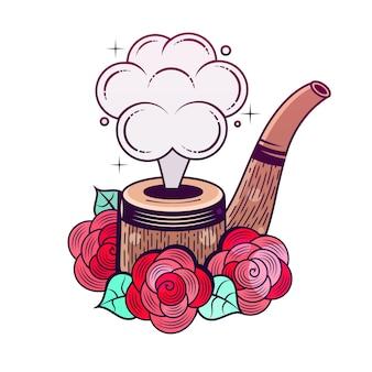 Cachimbo de fumaça. ilustração. visão em preto e branco.