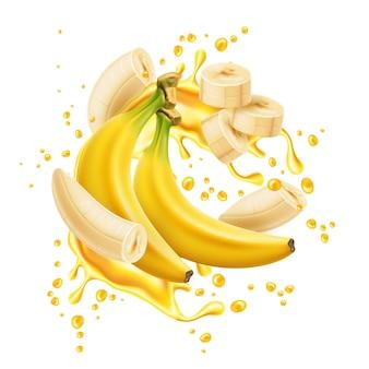 Cacho de banana com anéis descascados em suco amarelo espiral de explosão fruta natural realista