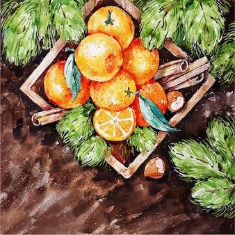 Cacho de laranjas pintado em caixa de madeira