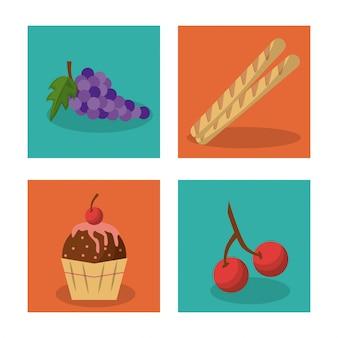 Cacho de uvas e pão francês e bolinho e cerejas
