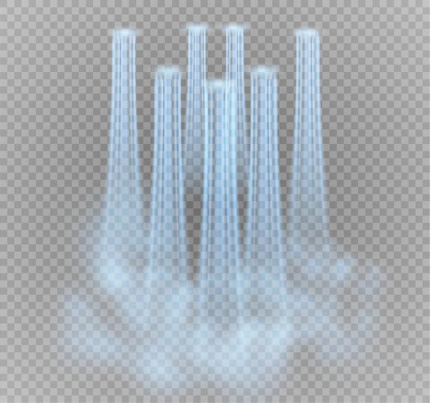 Cachoeira, em fundo transparente. ilustração. um fluxo de água.