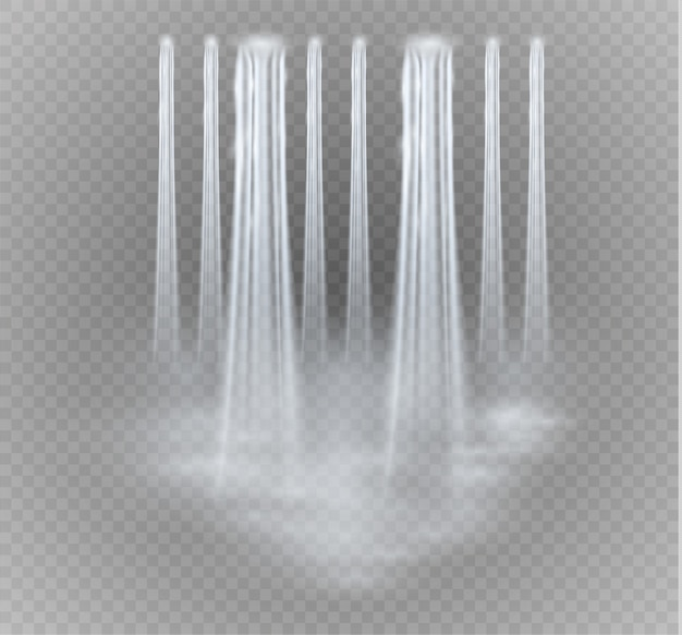 Cachoeira, isolada em fundo transparente. um fluxo de água.