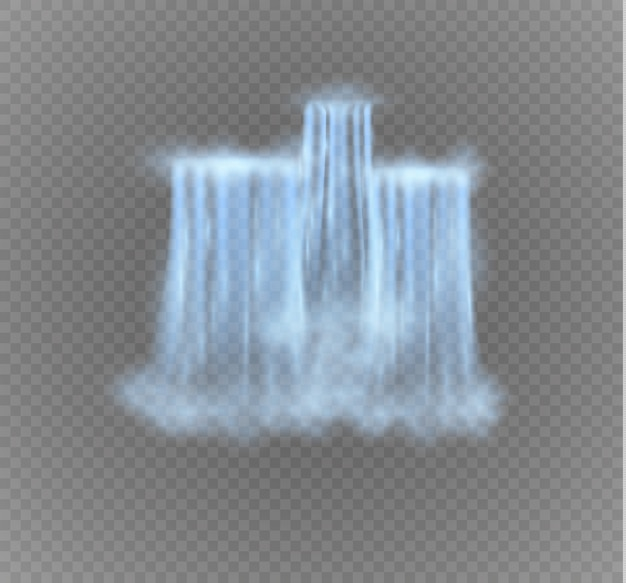 Cachoeira isolada em fundo transparente