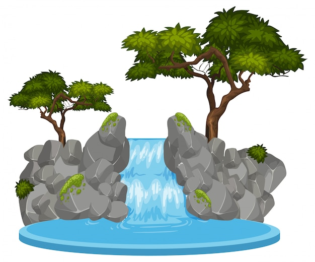 Cachoeira isolada no fundo branco