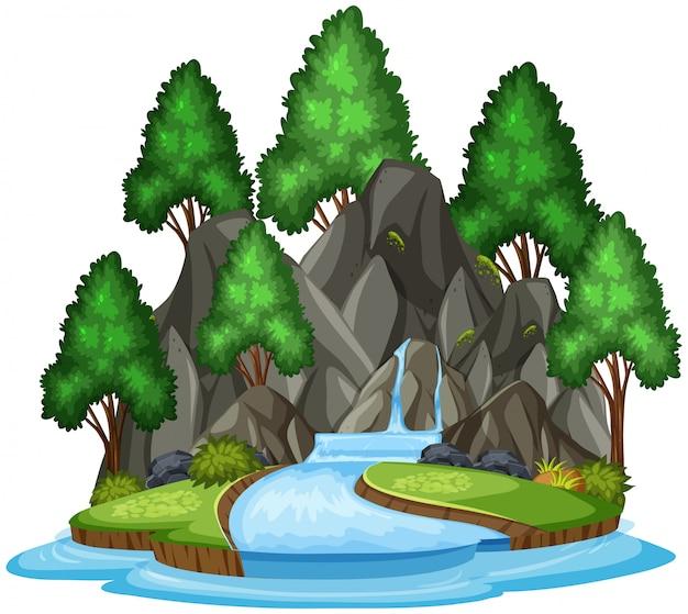 Cachoeira isolada paisagem em branco