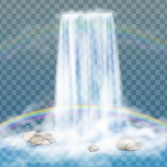 Cachoeira realista com água limpa, arco-íris e bolhas. elemento natural para imagens de paisagem de design. isolado em fundo transparente