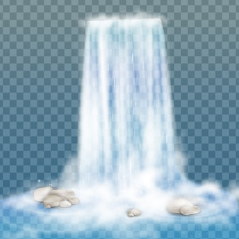 Cachoeira realista com água limpa e bolhas. elemento natural para imagens de paisagem de design. isolado em fundo transparente