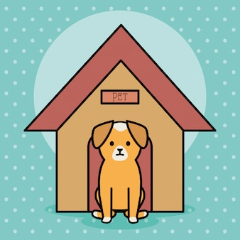 Cachorrinho adorável com casa de madeira