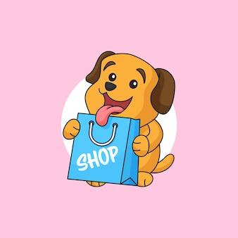 Cachorrinho feliz segurando uma sacola de compras, loja de animais de estimação, personagem, mascote, logo, ilustração vetorial