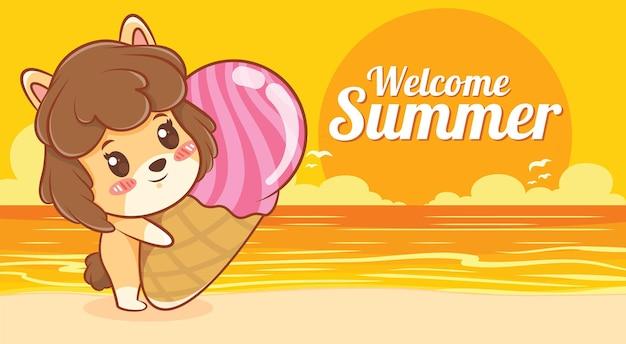 Cachorrinho fofo abraçando um sorvete com um banner de saudação de verão
