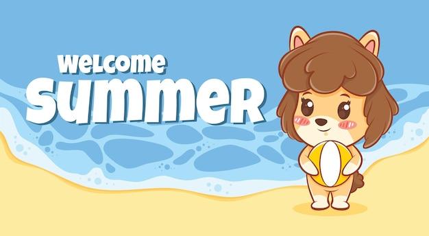 Cachorrinho fofo abraçando uma bola de praia com um banner de saudação de verão