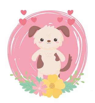 Cachorrinho fofo com flores de corações e animais de desenho animado em uma paisagem natural