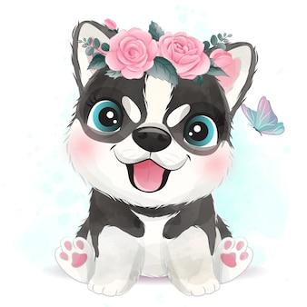 Cachorrinho fofo com ilustração floral