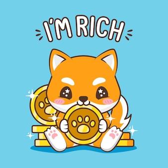 Cachorrinho fofo com moedas de ouro
