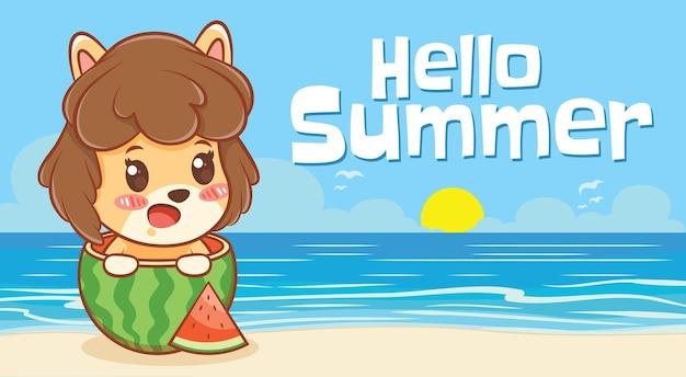 Cachorrinho fofo e melancia com uma faixa de saudação de verão
