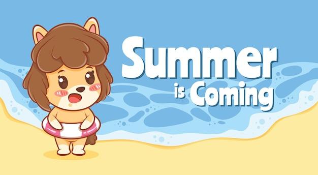 Cachorrinho fofo e ringue de natação com uma faixa de saudação de verão