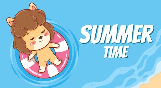 Cachorrinho fofo flutuando e relaxando com um banner de saudação de verão
