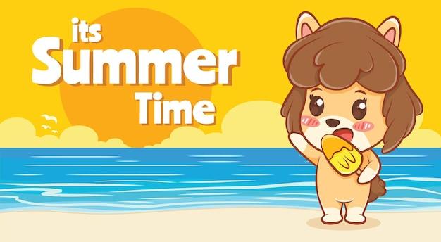 Cachorrinho fofo segurando sorvete com uma bandeira de saudação de verão