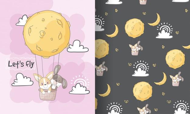 Cachorrinho fofo voando com a ilustração de padrão sem emenda de lua para crianças