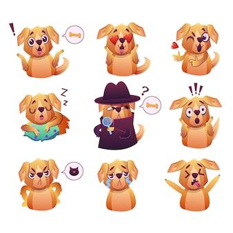 Cachorrinho pequeno do cão do animal de estimação do pug com coleção do colar de expressões faciais do emoji