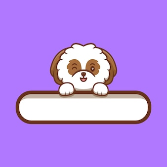 Cachorrinho shih-tzu fofo segurando etiqueta de texto em branco ilustração do ícone de desenho animado