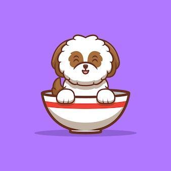 Cachorrinho shih-tzu fofo sentado dentro da tigela de ramen ilustração do ícone de desenho animado