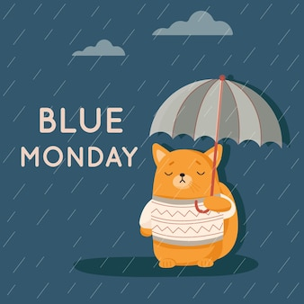 Cachorrinho triste na segunda-feira azul