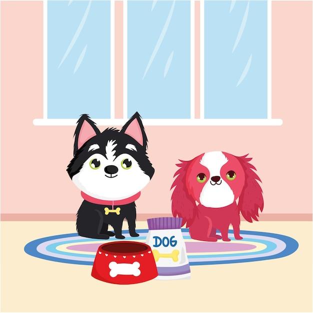 Cachorrinhos e comida