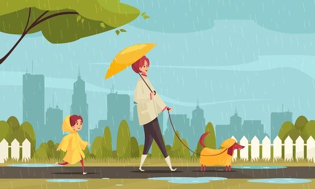 Cachorro ambulante em clima ruim, composição plana com mãe e filho bassê na paisagem urbana de capas de chuva