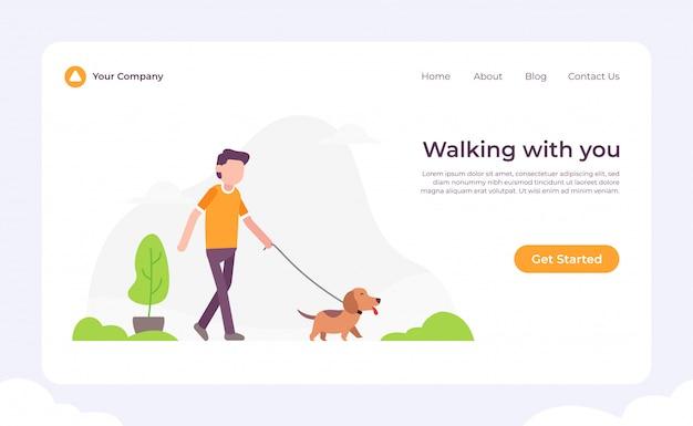 Cachorro andando com você página de destino