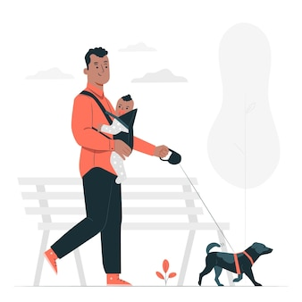 Cachorro andando ilustração do conceito