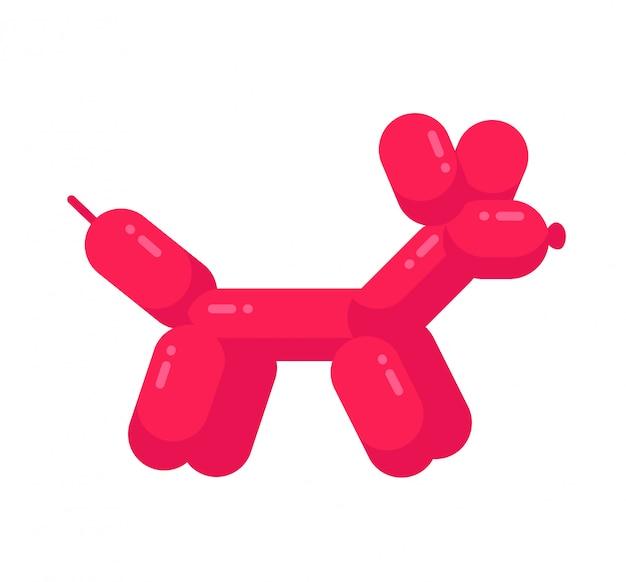 Cachorro ballon. projeto de ilustração de personagem de desenho animado plana. conceito de cão ballon rosa isolado no fundo branco