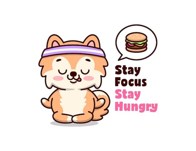 Cachorro brown bonito está pensando um hambúrguer delicioso ao fazer ioga
