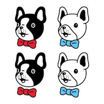 Cachorro, buldogue francês, gravata borboleta, personagem, caricatura, ilustração
