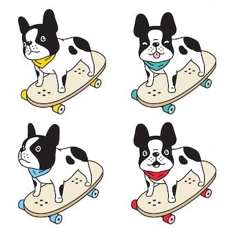 Cachorro, buldogue francês, skate, personagem, caricatura, ilustração