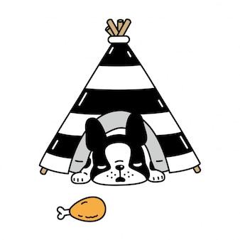 Cachorro bulldog francês dormindo tenda cartoon ilustração