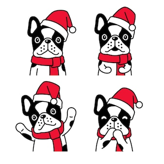Cachorro bulldog francês natal papai noel chapéu cachecol desenho animado