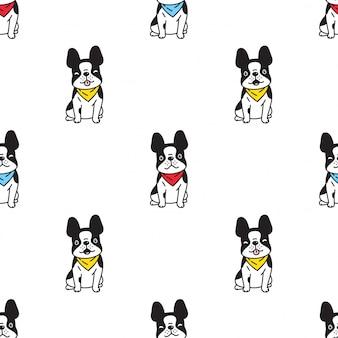 Cachorro bulldog francês sem costura padrão ilustração