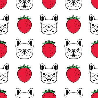 Cachorro bulldog francês sem costura padrão morango fruta filhote
