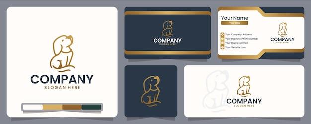 Cachorro, cachorrinho, arte de linha, design de logotipo e cartão de visita
