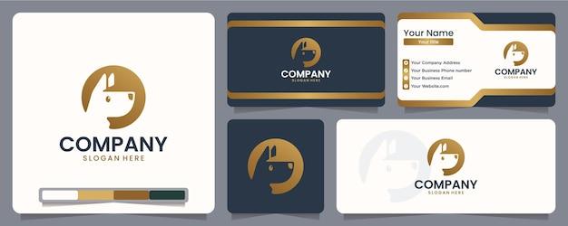 Cachorro, cachorrinho, silhueta, design de logotipo e cartão de visita