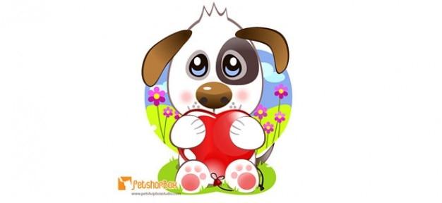 Cachorro caráter vetor segurando um coração